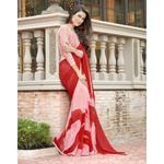 Triveni Red & Pink Printed Half & Half Saree with Unstitched Blouse (TSNLL2107)