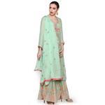 Pankhudii Pastel Green  Embroidered Sharara Suit Set (RAAS49)
