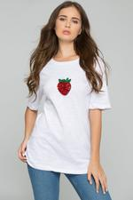 OwnTheLooks White Strawberry Sequin Short Sleeve Casual Tee
