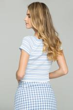 OwnTheLooks White & Blue Striped Ribbed Crop Top (603B)