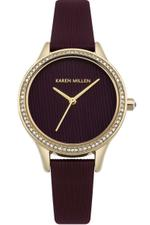 Karen Millen Burgundy Textured Leather Strap Analog Watch - KM165VG