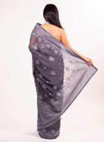 Pankhudii Grey Embroidered Saree with Unstitched Blouse (15696)