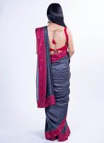 Pankhudii Dark Grey Embroidered Saree with Unstitched Blouse (15162)