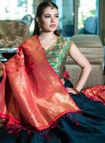 Pankhudii Teal Green & Red Woven Semi-Stitched Lehenga Set (76140)