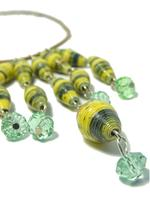 B-The Label Lime Yellow & Green Handpainted Beaded Necklace (B-08)