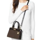 Michael Kors Brown & Black Tatiana Mini Logo Leather Satchel (30H8GT0S0B)