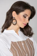 OwnTheLooks Brown & Beige Acrylic & Wood Drop Earrings (845A)