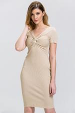 OwnTheLooks Beige Glimmer Sleeved Bodycon Dress (462A)