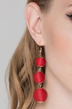 OwnTheLooks Deema Al Asadi - Red Yarn Ball Earrings