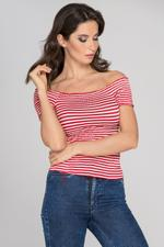 OwnTheLooks Red & White Striped Smocked Top (810A)