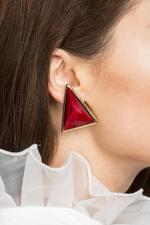 OwnTheLooks Red Coral Triangle Oversized Stud Earrings (327A)