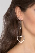OwnTheLooks Silver-Toned Heart-Shaped Drop Earrings (867A)