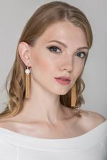 OwnTheLooks Gold-Toned & White Pearl Chain Tassel Earrings (861A)