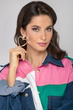 OwnTheLooks Gold-Toned & Navy Double-Sided Heart Drop Earrings (868A)