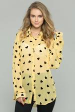 OwnTheLooks Yellow & Black Heart Graphic Print Shirt (667B)