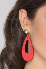 OwnTheLooks Red & Gold Teardrop Wood Drop Earrings (806A)