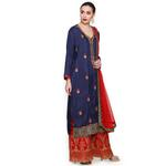 Pankhudii Blue and Red Embroidered Sharara Suit Set (RAAS47)