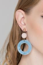 OwnTheLooks Blue & Gold Acrylic Marble Drop Earrings (847A)
