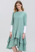OwnTheLooks Green Candy Stripe Cuffed Sleeve Ruffle Skirt Midi Dress