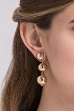 OwnTheLooks Three Gold Sphere Dangling Earrings