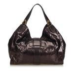Gucci Burgundy Python Soft Stirrup Shoulder Bag (9BGUSH073)