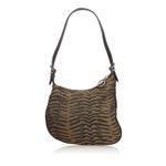 Fendi Brown Animal Patterned Canvas Oyster Hobo Bag (9EFNSH013)