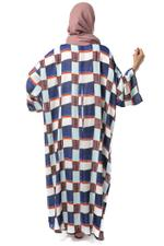 Miella Blue & White Inverted Pleat Checked Abaya (KF007-MUL)