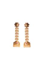 Wahe Guru Gold Plated & Pink Stone & Pearl Embellished Jhumkas (T00981)