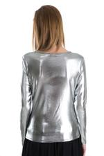 Miella Silver Basic Metallic Knit Top (TP760-SLVBLK)