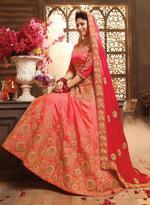 Pankhudii Coral Orange & Red Embroidered Semi-Stitched Wedding Season Lehenga Set (10602)