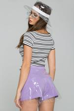 OwnTheLooks White & Black Striped Ribbed Crop Top (602B)