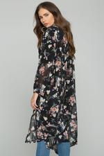 OwnTheLooks Black Chiffon Floral Print Hijab Long Sleeved Shirt