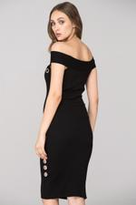 OwnTheLooks Black Off the shoulder Bodycon Ring Midi Dress