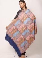 Inaayat Deep Blue Base Pashmina With Multicoloured Threadwork Shawl