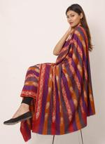 Inaayat Purple, Orange, Red Coloured Vertically Woven Pashmina With Golden Embroidery Shawl