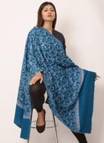 Inaayat Teal Blue Pashmina Base With Blue Embroidery All Over Shawl