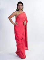 Pankhudii Pink Embellished Saree with Unstitched Blouse (8709)