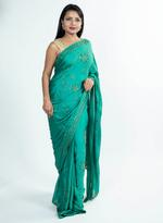 Pankhudii Green Embellished Saree with Unstitched Blouse (8706_23)