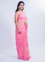 Pankhudii Pink Embroidered Saree with Unstitched Blouse  (15386)