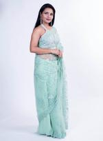 Pankhudii Mint Green Embroidered Saree with Unstitched Blouse  (15386)