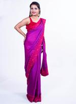 Pankhudii Purple Embroidered Saree with Unstitched Blouse (15162)