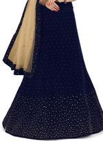 Pankhudii Navy Blue & Beige Embellished Semi-Stitched Lehenga Set (76352)