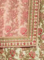 Pankhudii Beige & Pink Embroidered Semi-Stitched Lehenga Set (76108)