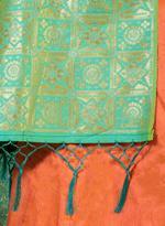 Pankhudii Orange & Green Woven Semi-Stitched Lehenga Set (76140)