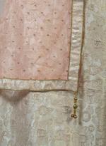 Pankhudii Beige & Pink Embroidered Semi-Stitched Lehenga Set (76026)