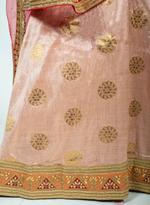 Pankhudii Pink & Red Woven Semi-Stitched Lehenga Set (75966)