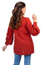 Miella Red Tie-Up Neck Top (TP040-Rust)