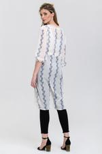 OwnTheLooks White Sheer Feather Print Long Shrug (558A)