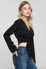 OwnTheLooks Black Solid Tie Up Knot Crop Top (911B)