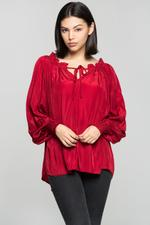 OwnTheLooks Cherry Red Gathered High-Low Top (934B)